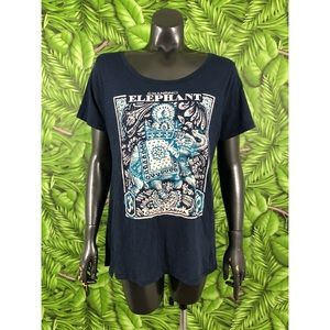 Lucky Brand Size Large Chanting Elephant Tee Shirt